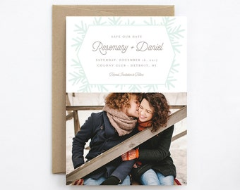 Wedding Save the Date - Snowfall - Card & Envelope
