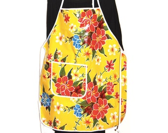 Mexican Retro Style Oilcloth Apron with Pocket-Yellow Hibiscus