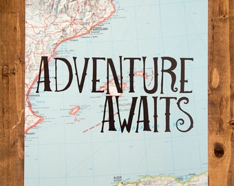 "Spain Map Print, Adventure Awaits, Great Travel Gift, 8"" x 10"" Letterpress Print"
