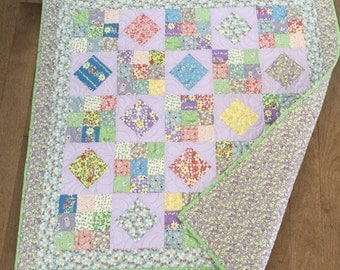 30s Reproduction Quilt  Bright and colorful Baby girl quilt Purple and pink and yellow