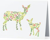 Card 4x6, Doe and Fawn Card, Baby Shower Card, Mothers Day Card, Mother and Baby Animal, Blank Card, Greeting Card, Thank you Card, Deer