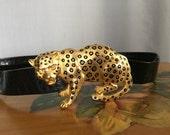 Cheetah Belt Gold Leopard Black Strap Vintage Animal Print Slide Buckle Belt Women's Large