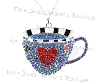 Alice in Wonderland Tea Cup, Alice in Wonderland Tea Party Rhinestone Pendant