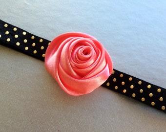 Coral Rose Headband for Baby - Black and Gold Polka Dot Headband Photo Prop - Girls Head Band - Satin Flower Headband - Toddler Headband -