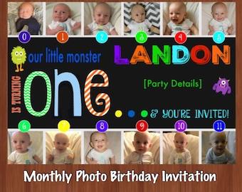 First Birthday Photo Collage Invitation - First Birthday Monthly Photo Invitation - 1-12 Month Photos - Monster Invitation - Monster 1st