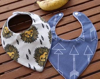 Baby bandana bibs: Arrows and lions - Set of 2