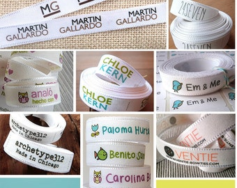 "4 YARDS | 0.6"" width (1,4 cm) - Sew On Custom Ribbon Fabric Labels - Flat or Folded - Fabric Tag - Custom Clothing Labels - Garment Tags"