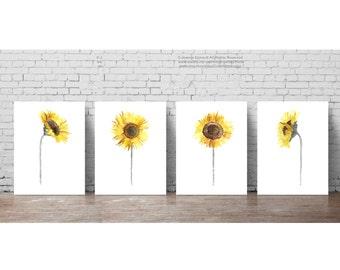 Sunflower set 4, Yellow Grey Brown Illustration Dining Room Home Garden Watercolor Painting, Sunflowers Wall Art Print Minimalist Room Decor