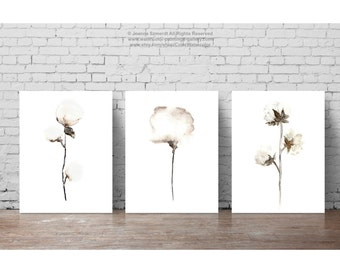 Shabby Chic Set of 3, Cotton Natural Art Print, Cotton Bolls Watercolor Painting, White Taupe Beige Brown Home Decor, Living Room Wall
