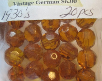1930s Vintage Amber Faceted Glass Beads 2 for the Price of One