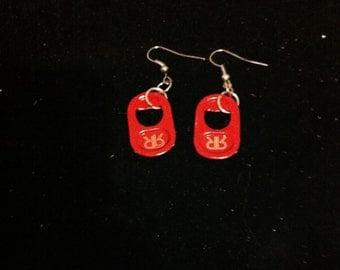 Soda Tab Earrings, Red Soda Pop Tabs, Ready to Ship, Soda Pop Tabs, Soda Pop Tab Jewelry