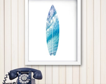 Surfboard Wall Art surfboard art beach print surfboard wall print digital