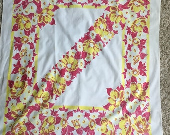 Fuschia and Yellow Vintage Tablecloth