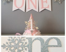 Ultimate cake smash package - winter onederland decorations - winter onederland - snowflake cake topper - high chair banner - birthday hat