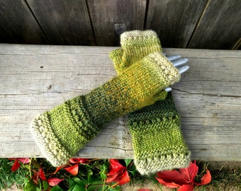 READY TO SHIP! Knit fingerless gloves, arm warmers, fingerless mitts, hand warmers, knit gloves, knit mittens,Brown Beige  Green