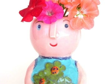 Ceramic face vase, succulent planter, air plant pot, home decor /  hand made