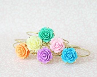 Girl's Rose Bangle, Flower Bangle, Flower Girl Bracelet, Resin Flower Bracelet, Flower Cabochon Bangle, Rose Bangle