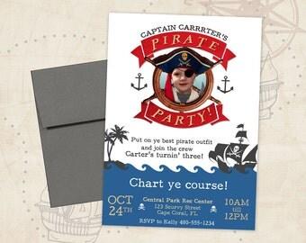 Pirate Party Invitation - Boy Birthday - Pirate Birthday Invitation - Pirate Party Invite - Pirate Invitation - Boy Pirate Party