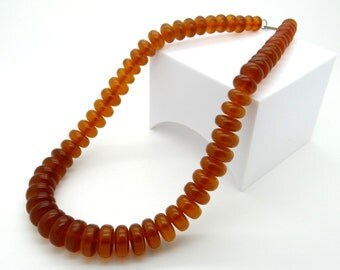Genuine Baltic Amber Necklace 24 Inch, 74 Grams - Natural Baltic Amber Necklace - Matinee Length, Art Deco Style Necklace - Vintage Jewelry