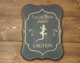 Halloween Decoration, Halloween Sign, Halloween Newt, Eye of Newt Sign, Halloween Gift, Halloween Apothecary Sign, Apothecary Label Sign