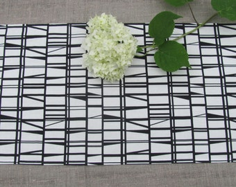 Cotton Table Runner; Black & White Geometric Motif Table Runner; Modern Table Cover with Graphic Print; Scandinavian Fabric Table Runner