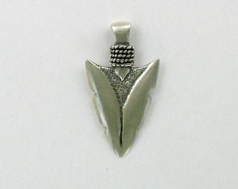 Sterling Silver 3-D Arrowhead Pendant
