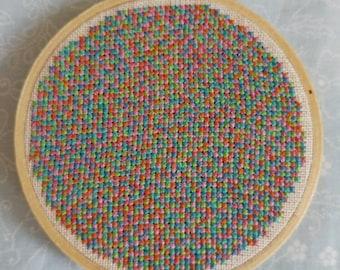 Multi-coloured cross stitch hoop handmade