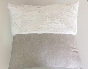 Boho pillow, Decorative pillow,  linen pillow, minky pillow, natural pillow, bedroom , dorm decor