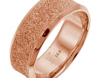 Pink Gold Glitter Like Finish Wedding Ring