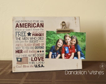 Americana Decor, Proud To Be An American, Rustic Photo Frame, 4th of July Decoration, Picture Frame, Patriotic Decoration, Independence Day