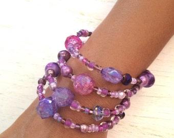 Purple Bead Wrap Bracelet, Seed Bead Memory Wire Bracelet, Purple Jewelry, Beaded Jewelry, Multi Layer Bracelet, Colorful Bracelet