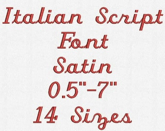 Italian Script Font 14 Sizes Embroidery Design