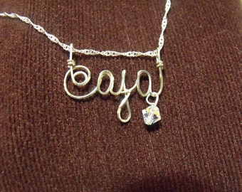 """CAJA  or  ANY name  handmade for you!  Wire Name on 18"""" chain ,Free Shipping, Personalized, teen gift, tween gift, Christmas gift, OOAK"""