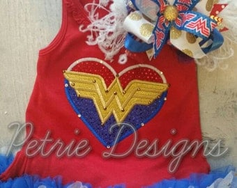 Girls wonder woman theme ruffle dress, t shirt or tank top