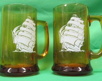 Pair of Brown tint Beer Steins with Clipper Ship Design