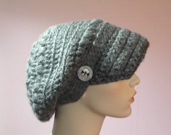 CROCHETED SLOUCHY NEWSBOY Hat -  Charcoal Grey, Woman's Brimmed Winter Hat