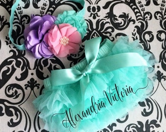 MINT BLOOMER SET,  spring set, baby headband and chiffon ruffle diaper cover with bow, pink, lavender and mint.