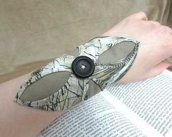 """Second Anniversary Gift, Quilted Cotton Bracelet, Upcycled Fabric / Textile Cuff, Elf Cuff, Elvish Bracer Bracelet """"The Maiden Archer #6"""""""