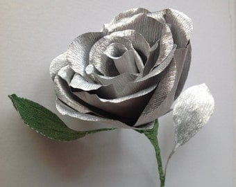 Long Stem Metallic Italian Crepe Paper Rose