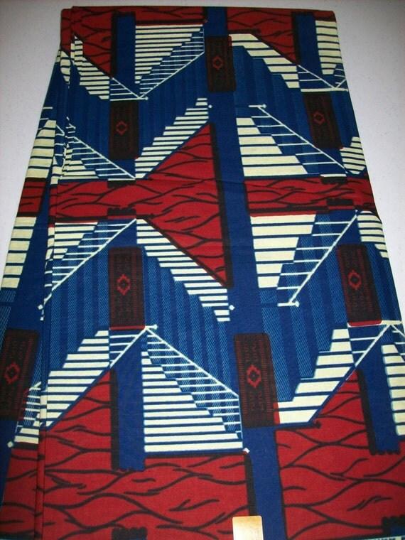 Per Yard African Print Fabric Red White Blue Wax Print Fabric