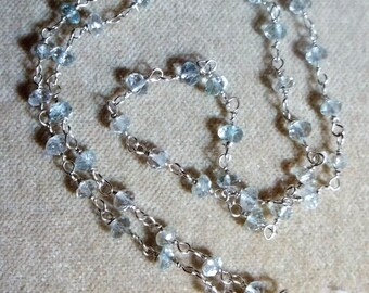 Aquamarine Handmade Sterling Chain, 18 Inches, Wire Wrapped