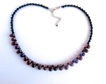 Purple Necklace - Repurposed Jewelry - Glass Beads - Handmade