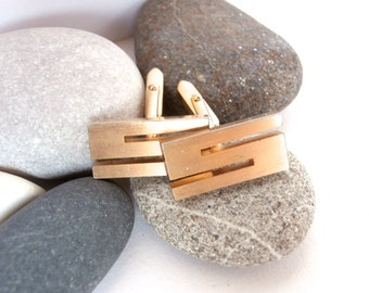 Initial Cufflinks - Letter S - Vintage Mens Jewelry - Initial Letters - Gold Tone