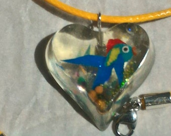 Polymer clay and resin necklace