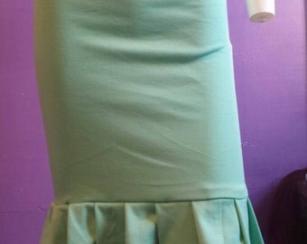 High waist mint green skirt