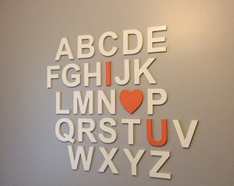 """Full Wooden Alphabet - I LOVE YOU - Hand Painted Wooden Letters Set - 26 letters - 6"""" high - Wall Decor -Nursery Decor- Wall Hanging Letters"""