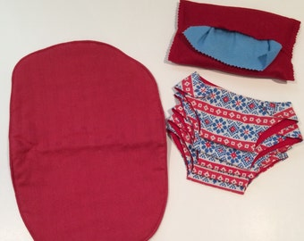 Pretend Play Baby Doll Accessories with Red and Blue Aztec Fabric