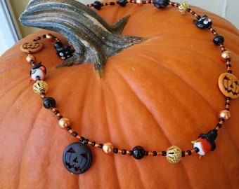 Lampwork and Glass Bead Halloween Necklace