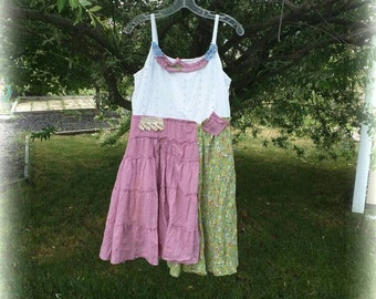 Pink Sunshine Shabby eyelet floral upcycled rustic Boho altered artsy dress top tunic artsy Lace funky tier feminine romantic L