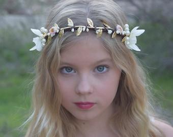 Ivory, Pearl & Gold Flower Girl Crown - Flower Girl Wreath- Bridal Hairpiece - First Communion Flower Crown- Wedding Halo - Photo Prop